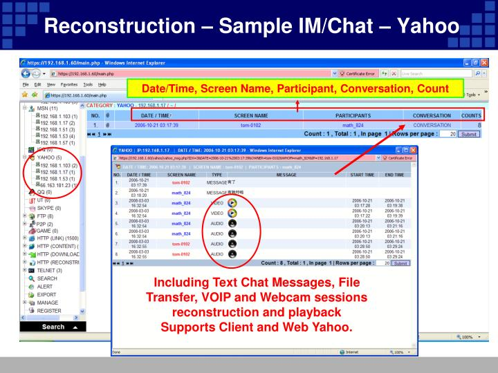 Reconstruction – Sample IM/Chat – Yahoo