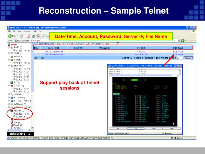 Reconstruction – Sample Telnet