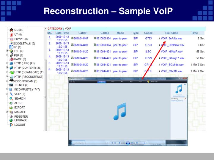 Reconstruction – Sample VoIP