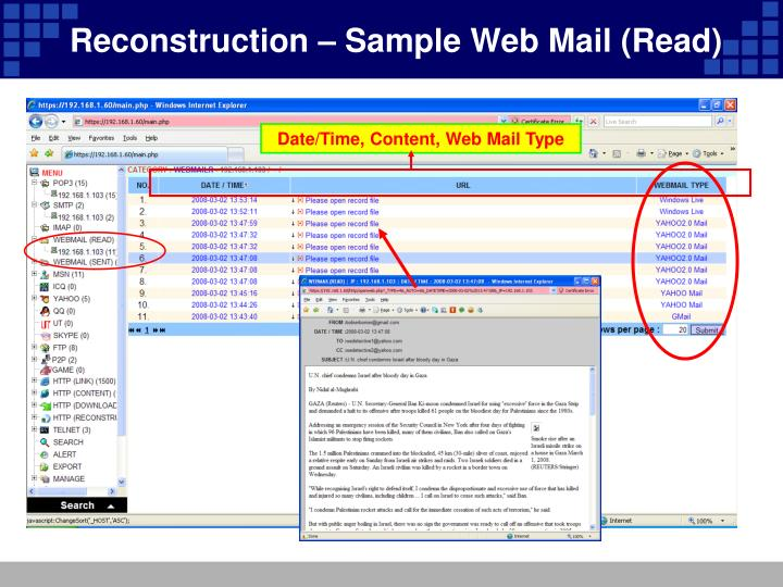 Reconstruction – Sample Web Mail (Read)