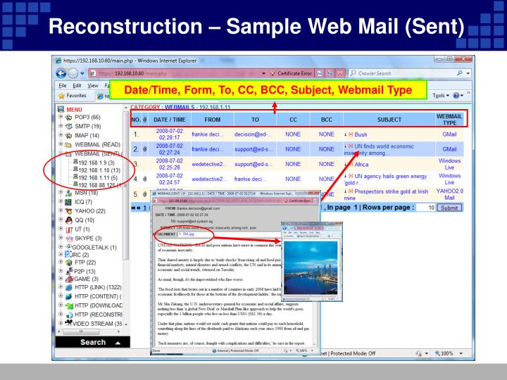 Reconstruction – Sample Web Mail (Sent)