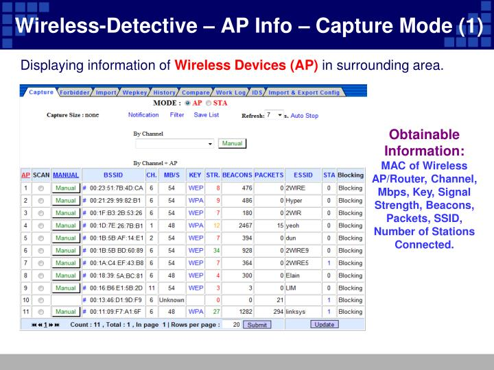 Wireless-Detective – AP Info – Capture Mode (1)