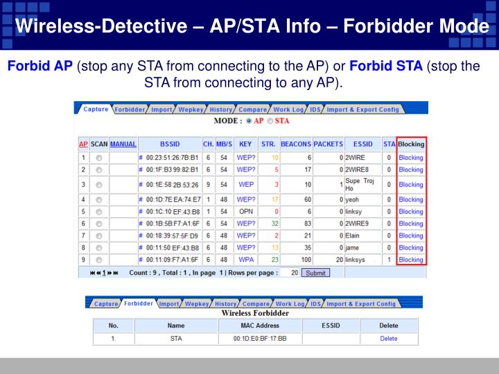Wireless-Detective – AP/STA Info – Forbidder Mode