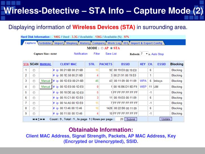 Wireless-Detective – STA Info – Capture Mode (2)