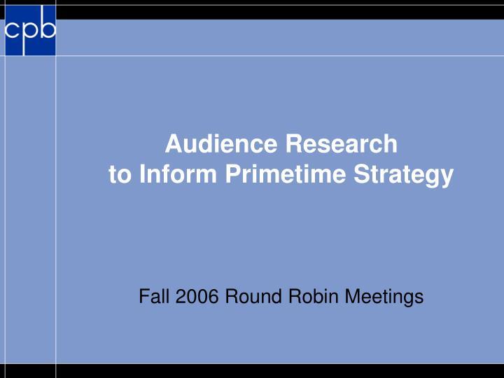 Fall 2006 round robin meetings