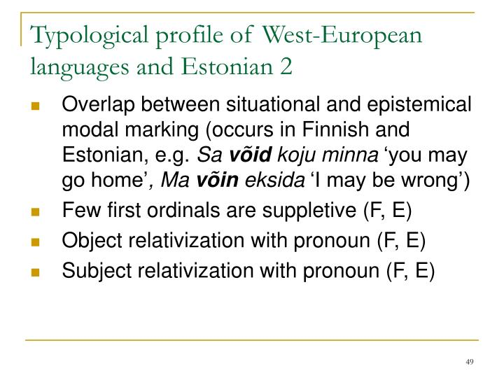 Typological profile of West-European languages and Estonia