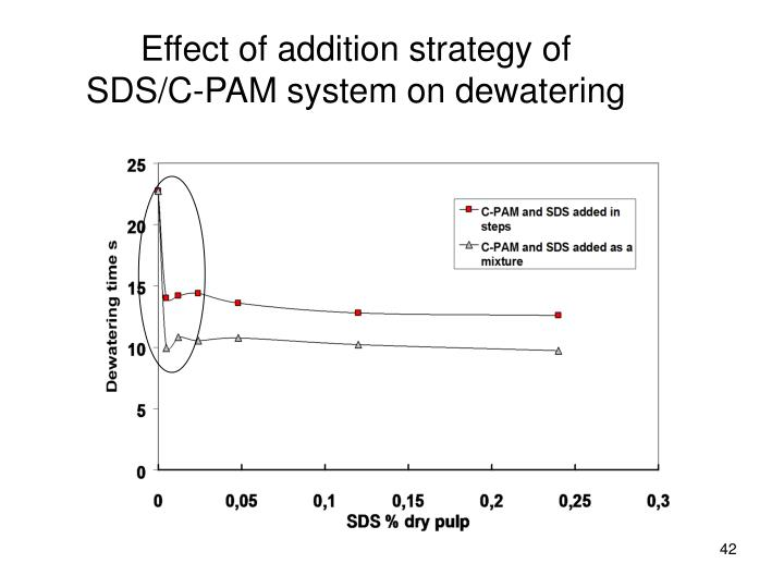 Effect of addition strategy of SDS/C-PAM system on dewatering