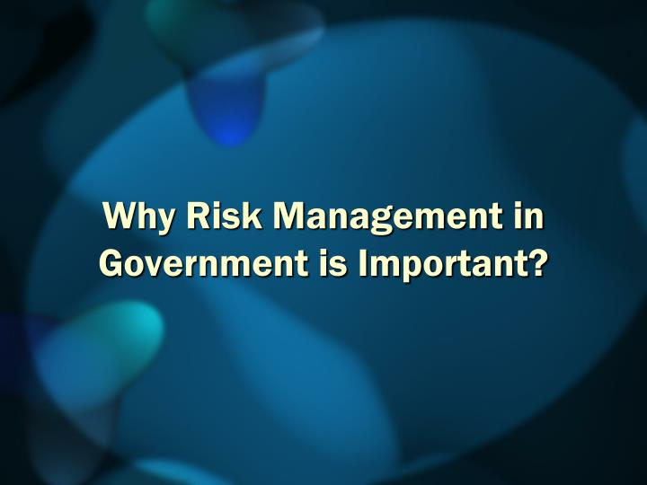 Why risk management in government is important