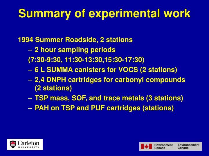 Summary of experimental work