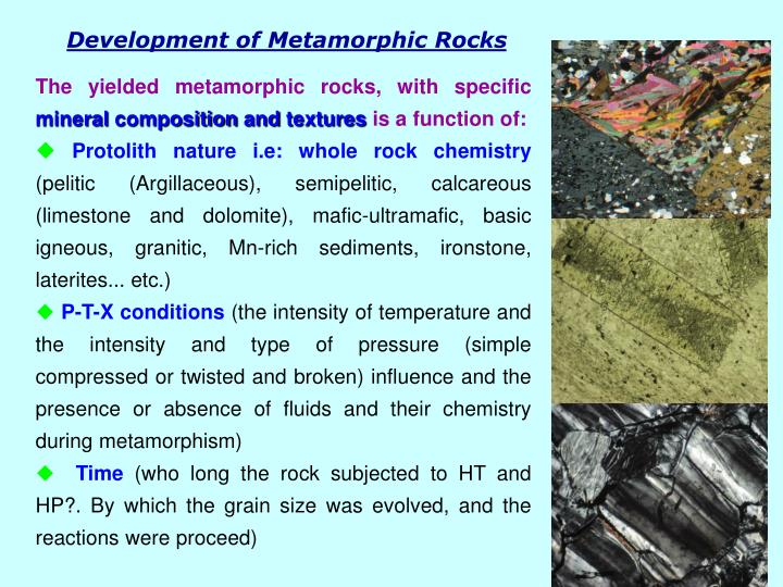 Development of Metamorphic Rocks