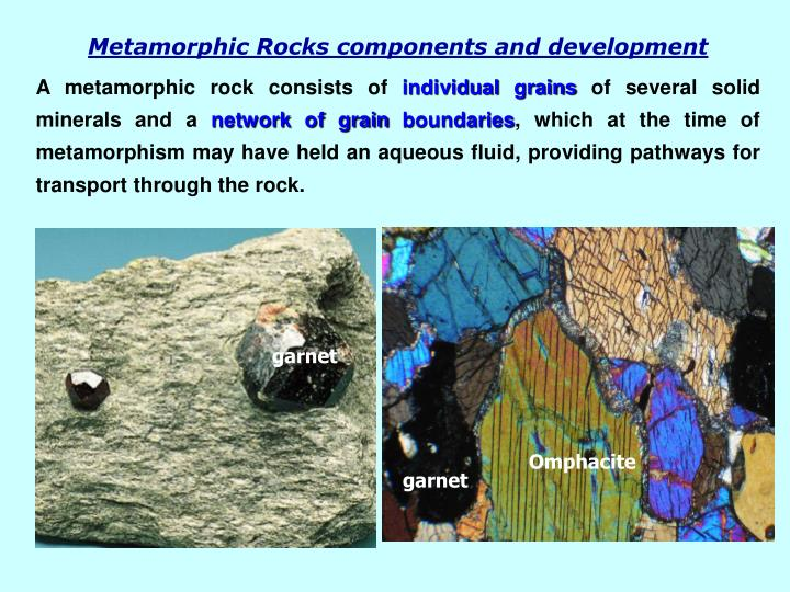Metamorphic Rocks components and development