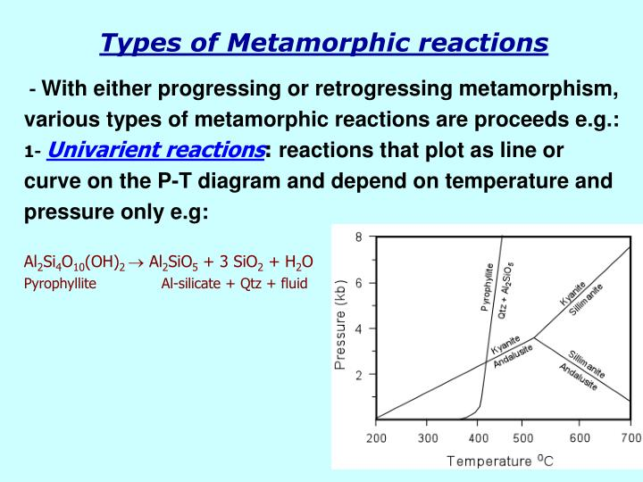 Types of Metamorphic reactions