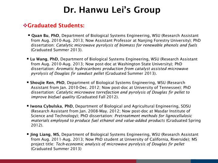 Dr. Hanwu Lei's Group
