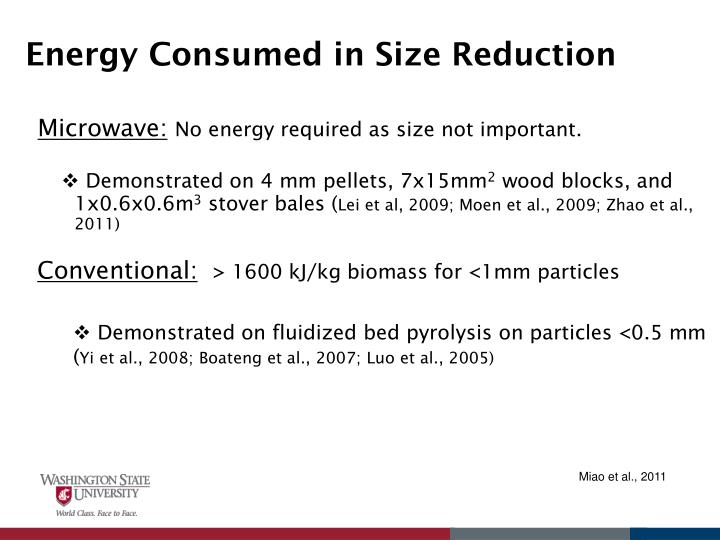 Energy Consumed in Size Reduction