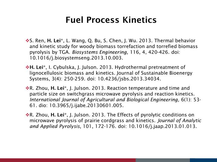 Fuel Process Kinetics