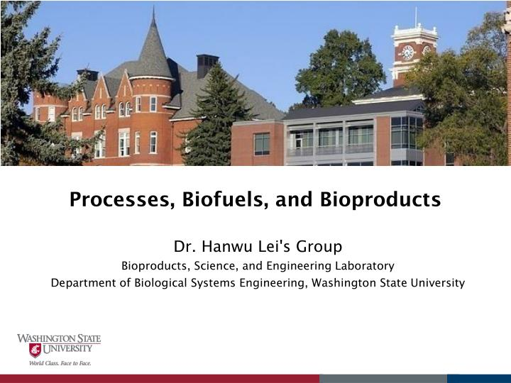 Processes biofuels and bioproducts