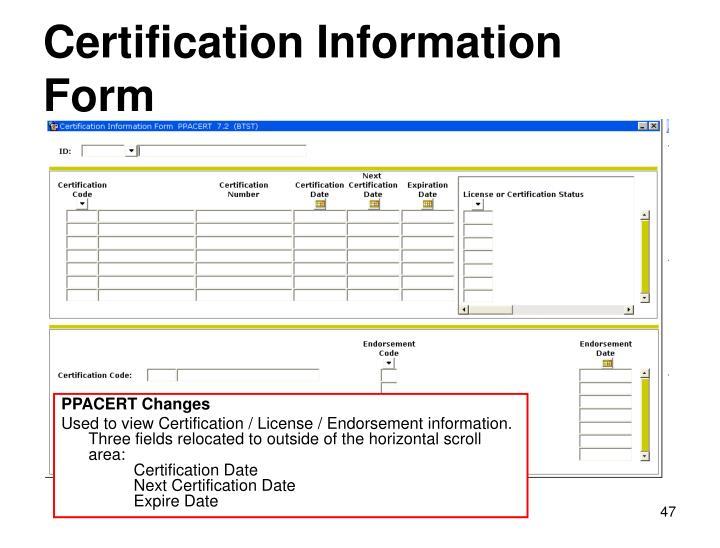 Certification Information Form