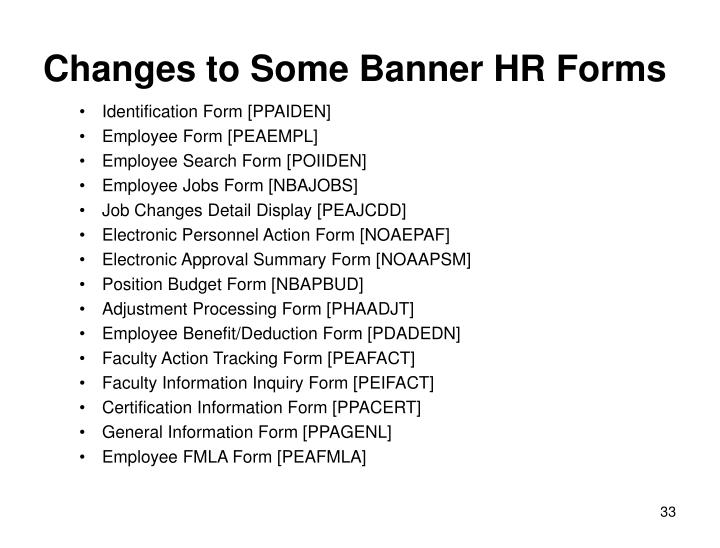 Changes to Some Banner HR Forms