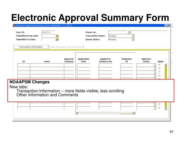 Electronic Approval Summary Form