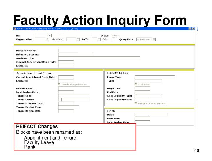 Faculty Action Inquiry Form