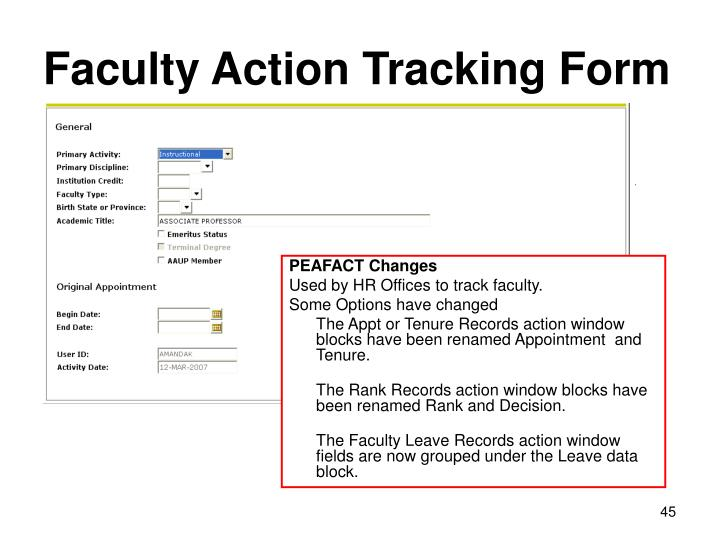 Faculty Action Tracking Form