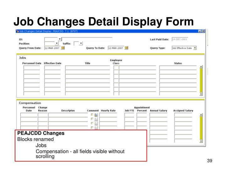 Job Changes Detail Display Form