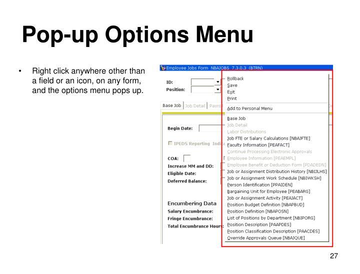 Pop-up Options Menu