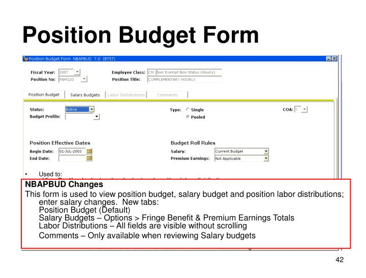 Position Budget Form