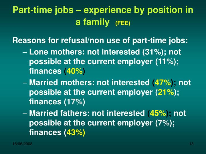 Part-time jobs – experience by position in a family