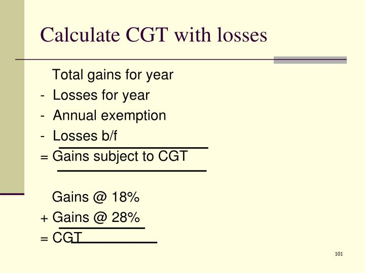Calculate CGT with losses