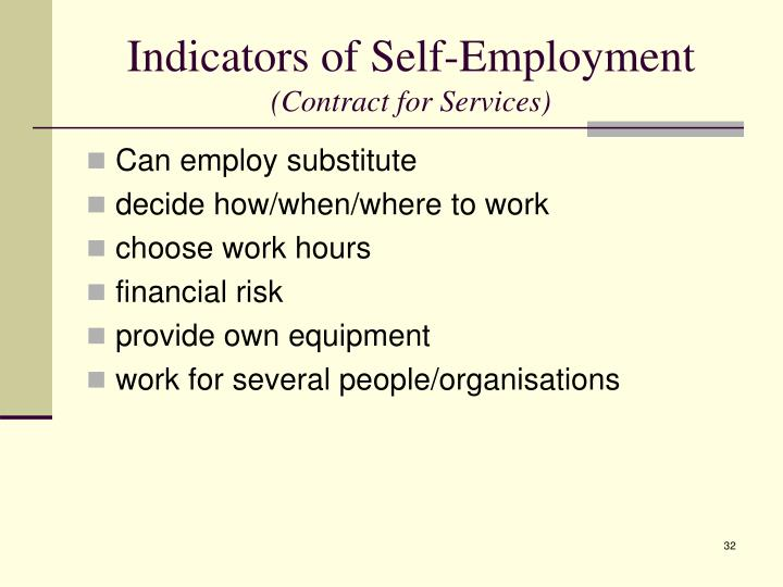 Indicators of Self-Employment