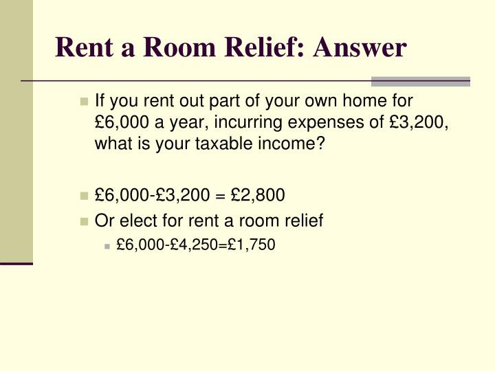 Rent a Room Relief: Answer