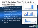 mast exploding biker crash myths in west midlands