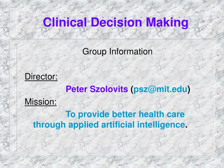 clinical decision making n.