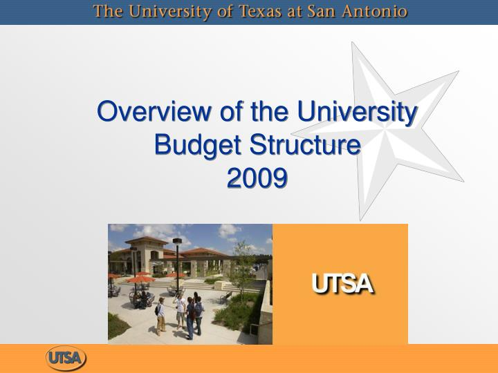 Overview of the university budget structure 2009