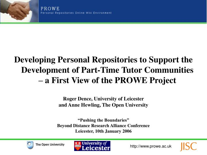 Developing Personal Repositories to Support the Development of Part-Time Tutor Communities – a Fir...