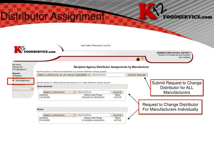 Distributor Assignment