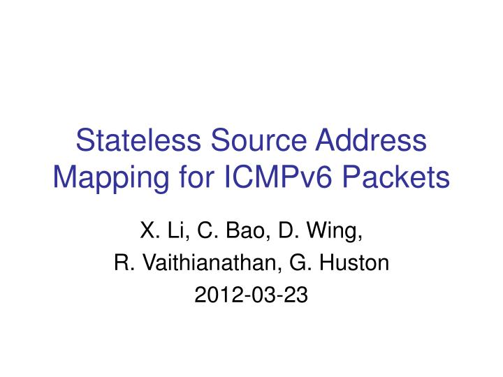 stateless source address mapping for icmpv6 packets n.