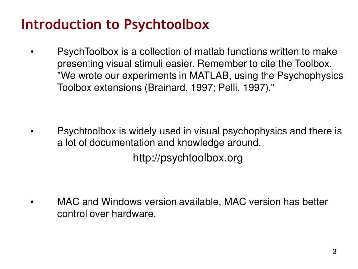 Introduction to psychtoolbox