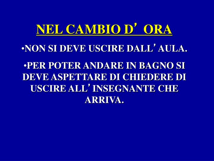 NEL CAMBIO D