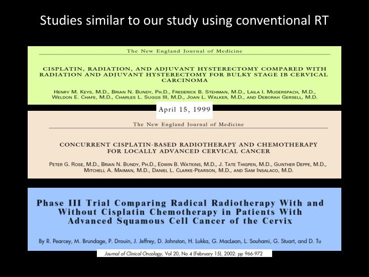 Studies similar to our study using conventional RT