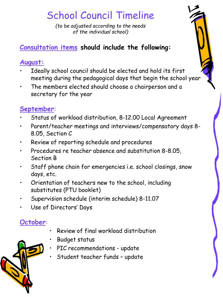 School council timeline to be adjusted according to the needs of the individual school