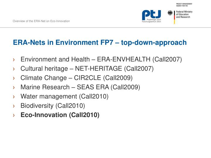 ERA-Nets in Environment FP7 – top-down-approach