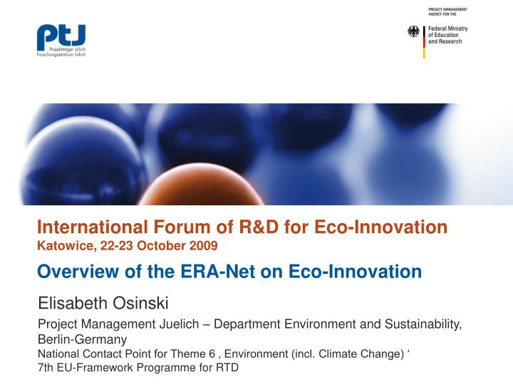 Overview of the era net on eco innovation