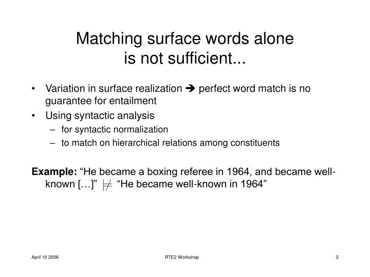 Matching surface words alone is not sufficient