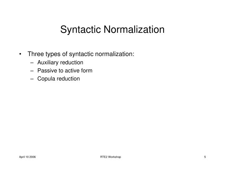 Syntactic Normalization