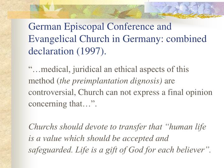 German Episcopal Conference and Evangelical Church in Germany: combined declaration (1997).