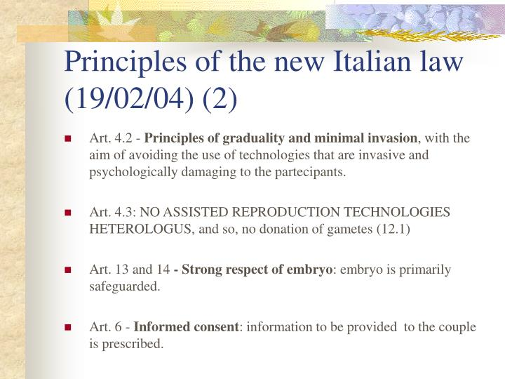 Principles of the new Italian law (19/02/04) (2)