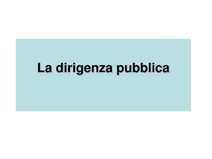 la dirigenza pubblica n.