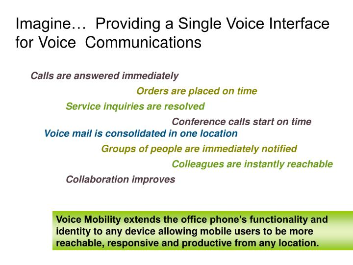 Imagine providing a single voice interface for voice communications